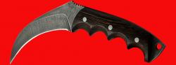 Нож-керамбит Коготь рыси, цельнометаллический, клинок дамасская сталь, рукоять венге