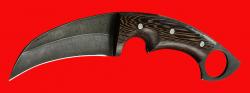 Нож-керамбит Клюв орла, цельнометаллический, клинок дамасская сталь, рукоять венге