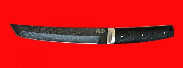 "Нож ""Самурай большой"", цельнометаллический, клинок тигельный булат, рукоять карбон"