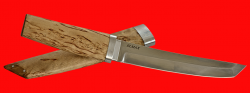 Нож Самурай большой, клинок порошковая сталь ELMAX, рукоять карельская берёза, деревянный чехол