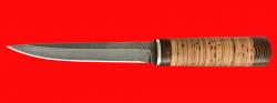 """Охотничий нож """"Эвенк"""", клинок дамасская сталь, рукоять береста"""
