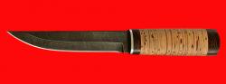 Охотничий нож Скиталец, клинок дамасская сталь, рукоять береста