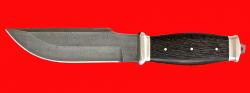 Нож Советский охотничий нож №2, цельнометаллический, клинок дамасская сталь, рукоять венге