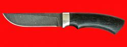 Нож Грибник, клинок дамасская сталь, рукоять морёный дуб