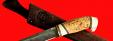 """Булатный нож """"Марал"""", клинок тигельный булат, рукоять наборная стабилизированная карельская береза (цвет натуральный), рог лося, кожа-латунь"""