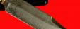 """Булатный нож """"Промысловый большой"""", клинок тигельный булат, рукоять наборная стабилизированная карельская береза (цвет натуральный), рог лося, кожа-латунь"""