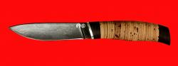 Нож Рыбка, клинок тигельный композит (легированный булат), рукоять береста