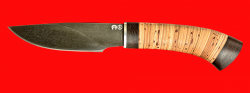 Охотничий нож Рысь-2, клинок тигельный композит (легированный булат), рукоять береста