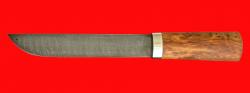 Авторский нож Пареньский большой, клинок дамасская сталь, рукоять стабилизированная карельская береза (цвет натуральный)