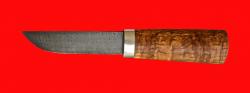 Авторский нож Пареньский малый, клинок дамасская сталь, рукоять стабилизированная карельская береза (цвет натуральный)
