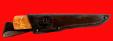 """Авторский нож """"Пареньский малый"""", клинок дамасская сталь, рукоять стабилизированная карельская береза (цвет натуральный)"""