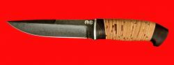 Охотничий нож Марал, клинок тигельный композит (легированный булат), рукоять береста
