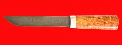 Авторский нож Пареньский средний, клинок дамасская сталь, рукоять стабилизированная карельская береза (цвет натуральный)