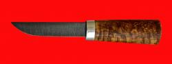 Авторский нож Пареньский-2 малый, клинок дамасская сталь, рукоять стабилизированная карельская береза (цвет натуральный)