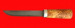 Авторский нож Пареньский-2 средний, клинок дамасская сталь, рукоять стабилизированная карельская береза (цвет натуральный)