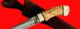 """Булатный нож """"Грибник"""", клинок тигельный булат, рукоять наборная стабилизированная карельская береза (цвет натуральный), рог лося, кожа-латунь"""