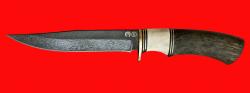 Булатный нож Багира, клинок тигельный булат, рукоять наборная стабилизированная карельская береза (цвет зелёный), рог лося, кожа-латунь