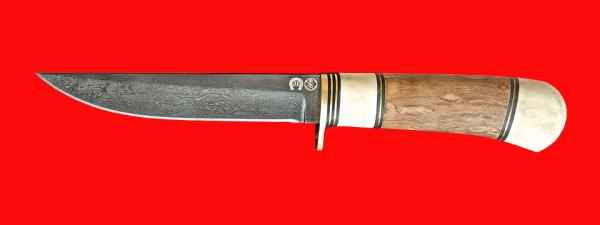 """Нож из булата """"Засапожный-1"""", клинок тигельный булат, рукоять наборная стабилизированная карельская береза (цвет натуральный), рог лося, кожа-латунь"""