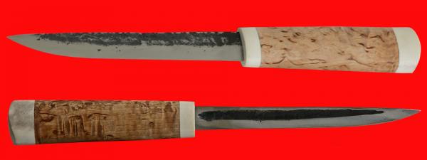 Якутский нож большой 009, ручная ковка, клинок сталь У8, заточка клин, рукоять карельская берёза, лосиный рог