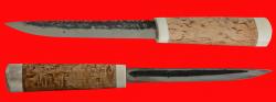 Якутский нож большой, ручная ковка, клинок сталь У8, заточка клин, рукоять карельская берёза, лосиный рог