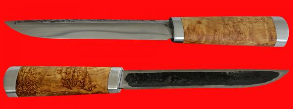 Якутский нож большой 008, ручная ковка, клинок сталь У8, заточка линза, рукоять карельская берёза, металл