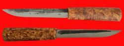 Якутский нож средний, ручная ковка, клинок сталь У8, заточка клин, рукоять карельская берёза