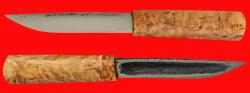 Якутский нож средний, шкуросъемный, ручная ковка, клинок сталь У8, заточка линза, рукоять карельская берёза