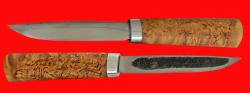 Якутский нож малый 005, шкуросъёмный, ручная ковка, клинок сталь У8, заточка линза, рукоять карельская берёза