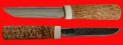 Якутский нож малый 004, ручная ковка, клинок сталь У8, заточка линза, рукоять карельская берёза, лосиный рог