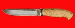"""Охотничий нож """"Кедр"""", клинок булатная нержавеющая сталь (нержавеющий булат), рукоять наборная стабилизированная карельская берёза (цвет натуральный)"""