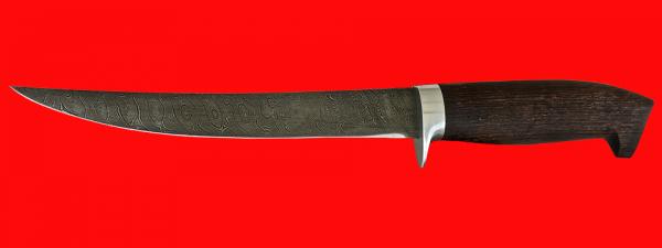 """Филейный нож """"Судак большой"""", клинок дамасская сталь, рукоять венге"""