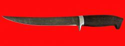 Филейный нож Судак большой, клинок дамасская сталь, рукоять венге