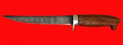 Филейный нож Судак средний, клинок дамасская сталь, рукоять бубинга