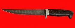 Филейный нож Судак средний, клинок дамасская сталь, рукоять венге
