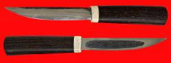Якутский нож 007, ручная ковка, клинок сталь У8, заточка линза, рукоять венге