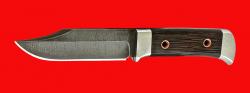 Нож Оцелот, цельнометаллический, клинок дамасская сталь, рукоять венге