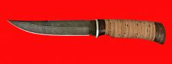 """Нож """"Джигит"""", клинок дамасская сталь, рукоять береста"""