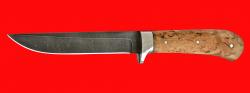 Нож Засапожный №1 магнум, цельнометаллический, клинок дамасская сталь, рукоять карельская берёза