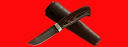 """Охотничий нож """"Классик-2"""", клинок дамасская сталь, рукоять венге, деревянный чехол"""