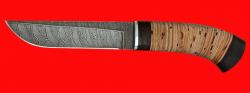 Охотничий нож Олень, клинок дамасская сталь, рукоять береста