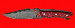 Нож Городской, цельнометаллический, клинок дамасская сталь, рукоять пластик (красный)