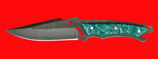 """Нож """"Городской"""", цельнометаллический, клинок сталь Х12МФ, рукоять пластик (зеленый)"""
