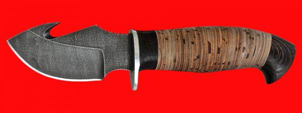 """Охотничий нож """"Скиннер-3"""", клинок дамасская сталь, рукоять береста"""