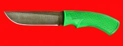 Нож Грибник, клинок дамасская сталь, рукоять пластмасса (цвет зелёный)