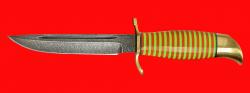 Нож Финка НКВД 003, клинок дамасская сталь, рукоять наборный пластик, латунь