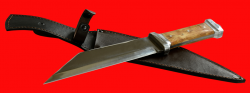 Нож Скрамасакс-2, цельнометаллический, клинок сталь У8, рукоять карельская берёза