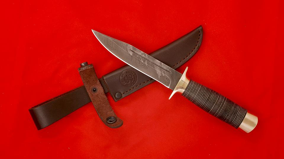 """Нож """"Разведчик"""", клинок дамасская сталь, рукоять кожа, металл"""