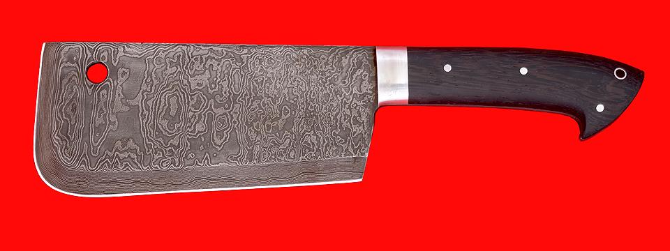 """Нож """"Тяпка мясницкая"""", цельнометаллическая, клинок дамасская сталь, рукоять венге"""