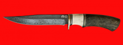"""Булатный нож """"Багира"""", клинок тигельный булат, рукоять наборная стабилизированная карельская береза (цвет зелёный), рог лося, кожа-латунь"""