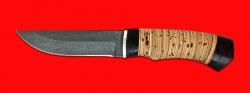 """Нож """"Бурундук"""", клинок тигельный булат, рукоять береста"""